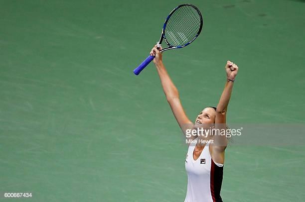 Karolina Pliskova of the Czech Republic celebrates defeating Serena Williams of the United States 6-2, 7-6 during their Women's Singles Semifinal...