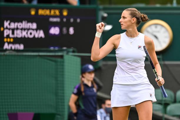 Karolina Pliskova of the Czech Republic celebrates during her match against Aryna Sabalenka of Belarus in the Semi-finals of the ladies singles...