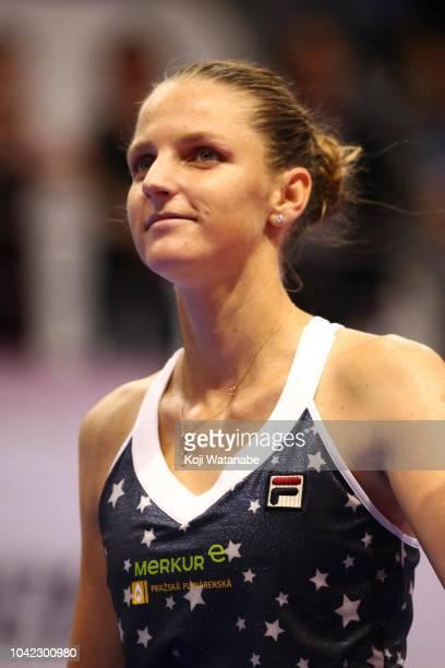 Karolina Pliskova of the Czech Republic celebrates her victory in the Singles semi final against Donna Vekic of Croatia on day six of the Toray Pan...