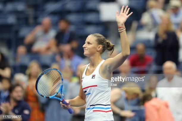 Karolina Pliskova of the Czech Republic celebrates her win following her Women's Singles second round match against Mihaela Buzarnescu of Romania on...