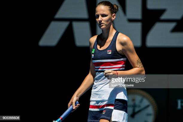 Karolina Pliskova of the Czech Republic celebrates in her first round match during the 2018 Australian Open on January 16 at Melbourne Park Tennis...