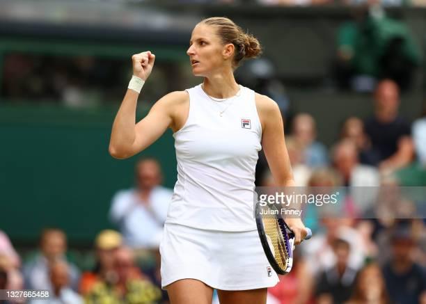 Karolina Pliskova of The Czech Republic celebrates in her Ladies' Singles Semi-Final match against Aryna Sabalenka of Belarus on Day Ten of The...