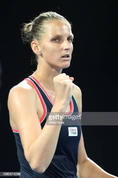 Karolina Pliskova of the Czech Republic celebrates in the Women's Finals match against Lesia Tsurenko of Ukraine during day eight of the 2019...