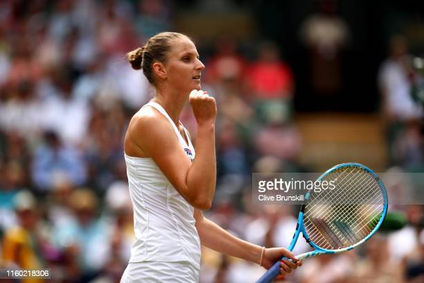 Karolina Pliskova of The Czech Republic celebrates match point in her Ladies' Singles third round match against SuWei Hsieh of Chinese Taipei during...