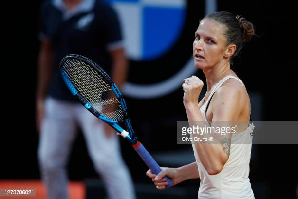 Karolina Pliskova of The Czech Republic celebrates match point in her semi-final match against Marketa Vondrousova of The Czech Republic during day...