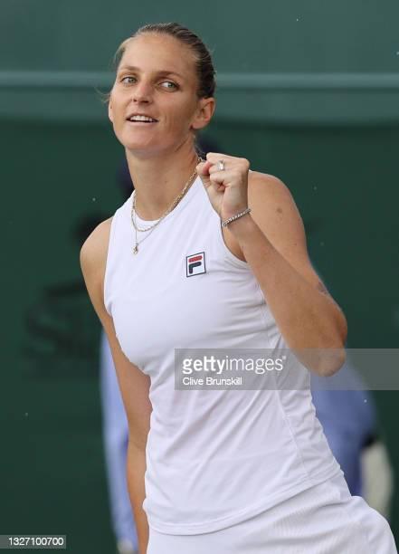 Karolina Pliskova of The Czech Republic celebrates match point in her Ladies' Singles Fourth Round match against Ludmilla Samsonova of Russia during...