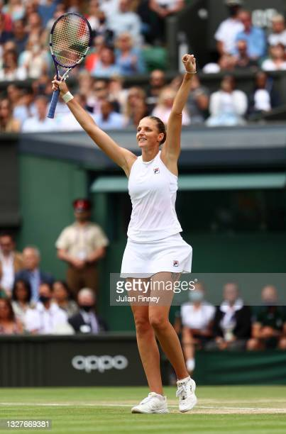 Karolina Pliskova of The Czech Republic celebrates match point in her Ladies' Singles Semi-Final match against Aryna Sabalenka of Belarus on Day Ten...