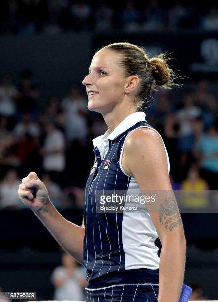 Karolina Pliskova of The Czech Republic celebrates victory after her semi final match against Naomi Osaka of Japan during day six of the 2020...