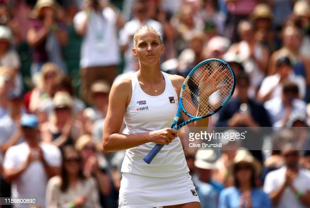 Karolina Pliskova of The Czech Republic celebrates victory in her Ladies' Singles second round match against Monica Puig of Puerto Rico during Day...