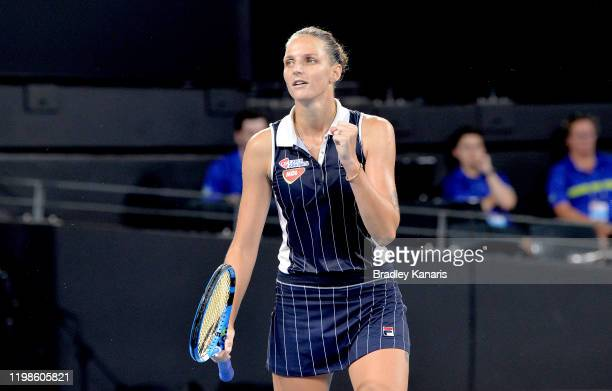 Karolina Pliskova of The Czech Republic celebrates victory in her match against Alison Riske of the USA during day five of the 2020 Brisbane...