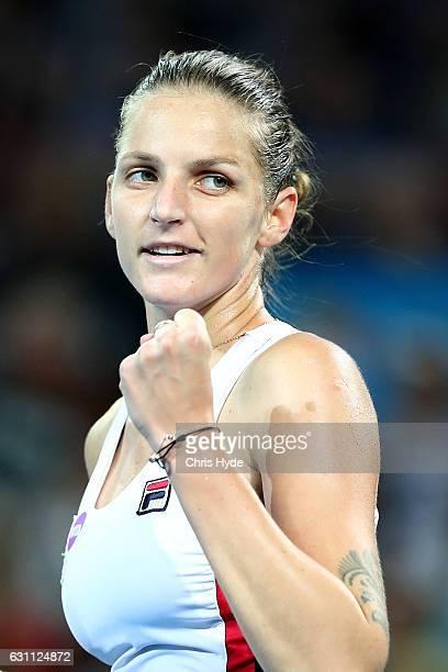 Karolina Pliskova of the Czech Republic celebrates winning against Alize Cornet of France in the Women's Final on day seven of the 2017 Brisbane...