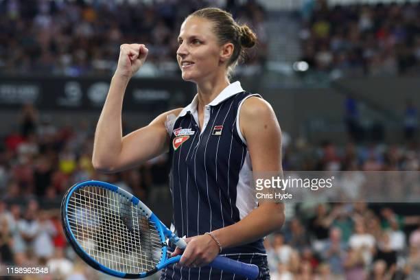 Karolina Pliskova of The Czech Republic celebrates winning the finals match against Madison Keys of the USA during day seven of the 2020 Brisbane...