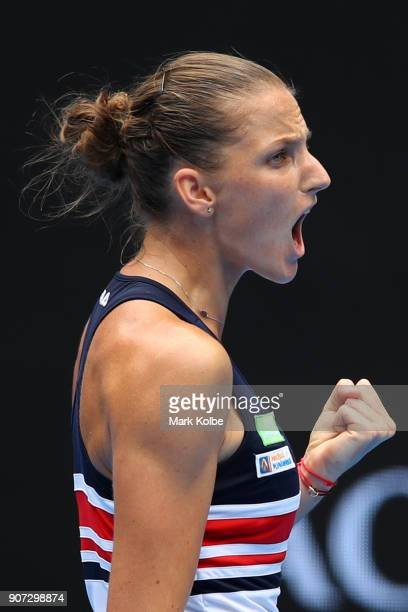 Karolina Pliskova of the Czech Republic celebrates winning the first set in her third round match against Lucie Safarova of the Czech Republic on day...