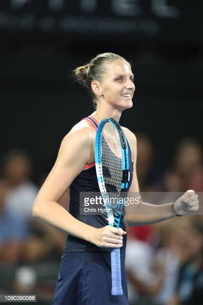 Karolina Pliskova of the Czech Republic celebrates winning the Women's Finals match against Lesia Tsurenko of Ukraineduring day eight of the 2019...