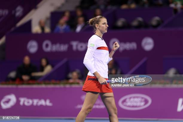 Karolina Pliskova of the Czech Republic gestures during her match against Alize Cornet of France as they compete in during the second round of the...
