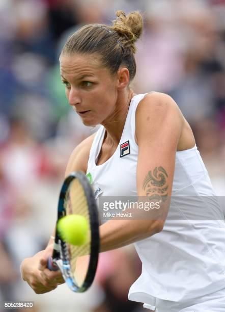 Karolina Pliskova of the Czech Republic hits a backhand during the ladies singles final against Caroline Wozniacki of Denmark on day seven of the...