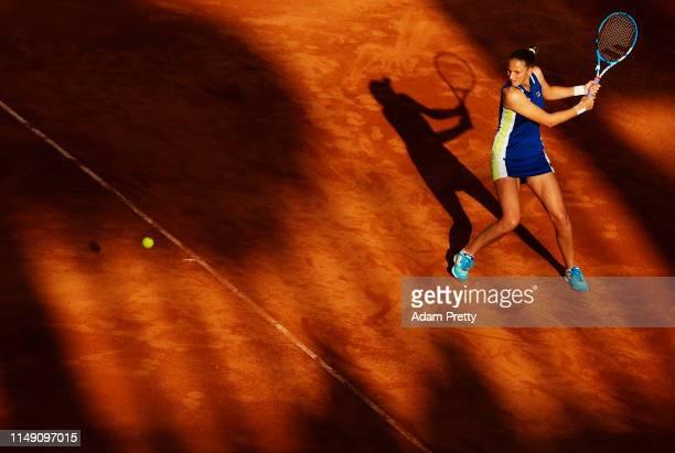 Karolina Pliskova of the Czech Republic hits a backhand to Ajla Tomljanovic of Australia during her match against Caroline Garcia of France during...
