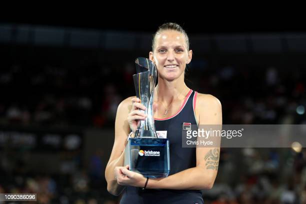Karolina Pliskova of the Czech Republic holds the trophy after in the Women's Finals match against Lesia Tsurenko of Ukraineduring day eight of the...