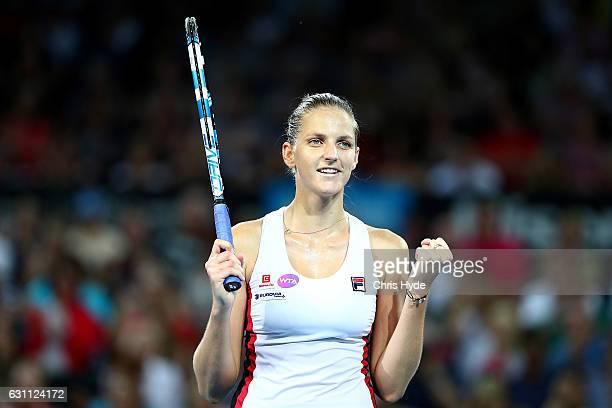 Karolina Pliskova of the Czech Republic holds the winning against Alize Cornet of France in the Women's Final on day seven of the 2017 Brisbane...