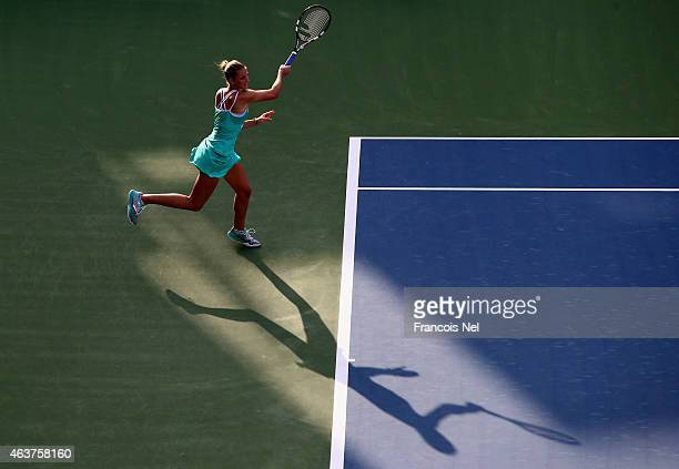 Karolina Pliskova of the Czech Republic in action in her match against Ana Ivanovic of Serbia during day four of the WTA Dubai Duty Free Tennis...