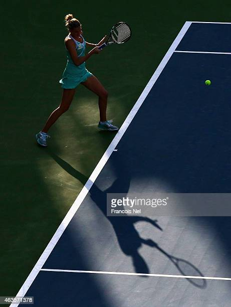 Karolina Pliskova of the Czech Republic in action in her match against Anastasia Pavlyuchenkova of Russia during day two of the WTA Dubai Duty Free...