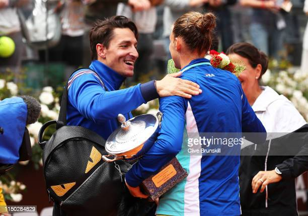 Karolina Pliskova of the Czech Republic is congratulated by husband Michal Hrdlicka after her straight sets victory against Johanna Konta of Great...