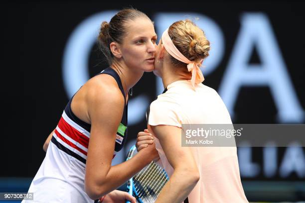 Karolina Pliskova of the Czech Republic is congratulated by Lucie Safarova of the Czech Republic fter Pliskova won their third round match on day six...