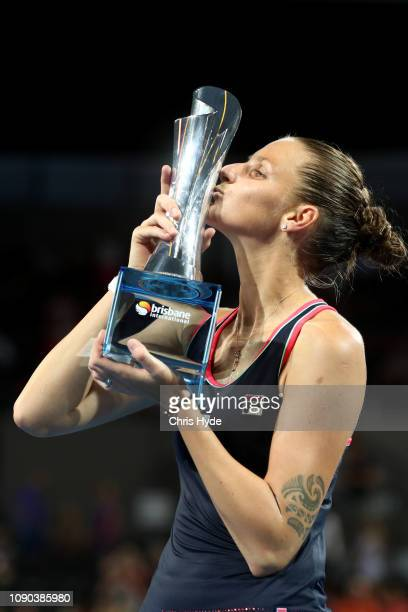 Karolina Pliskova of the Czech Republic kisses the trophy after in the Women's Finals match against Lesia Tsurenko of Ukraineduring day eight of the...