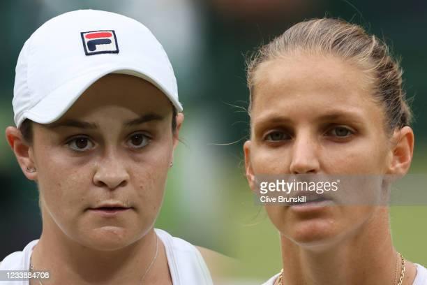 Karolina Pliskova of The Czech Republic looks on in her Ladies' Singles Semi-Final match against Aryna Sabalenka of Belarus on Day Ten of The...