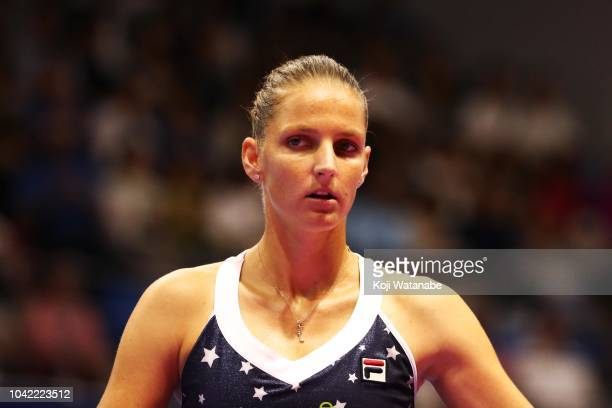 Karolina Pliskova of the Czech Republic looks on in the Singles semi final against Donna Vekic of Croatia on day six of the Toray Pan Pacific Open at...