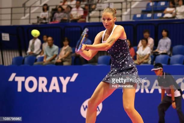Karolina Pliskova of the Czech Republic plays a backhand during her Singles second round match against Daria Gavrilova of Australia on day three of...
