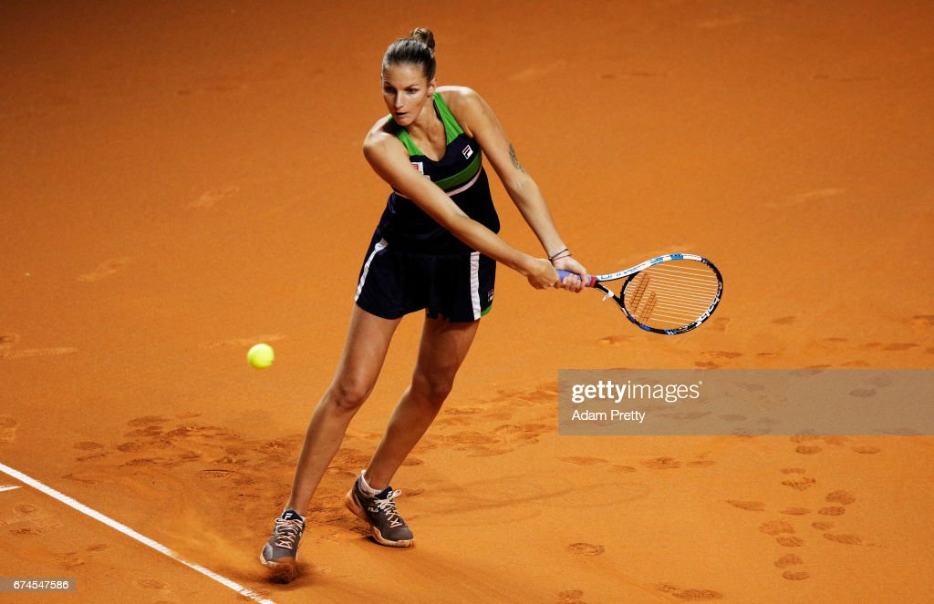 Karolina Pliskova of the Czech Republic plays a backhand during her match against Laura Siegemund of Germany during the Porsche Tennis Grand Prix at Porsche Arena on April 28, 2017 in Stuttgart, Germany.