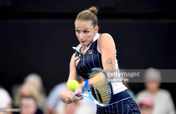 Karolina Pliskova of The Czech Republic plays a backhand in her match against Ajla Tomljanovic of Australia during day four of the 2020 Brisbane...