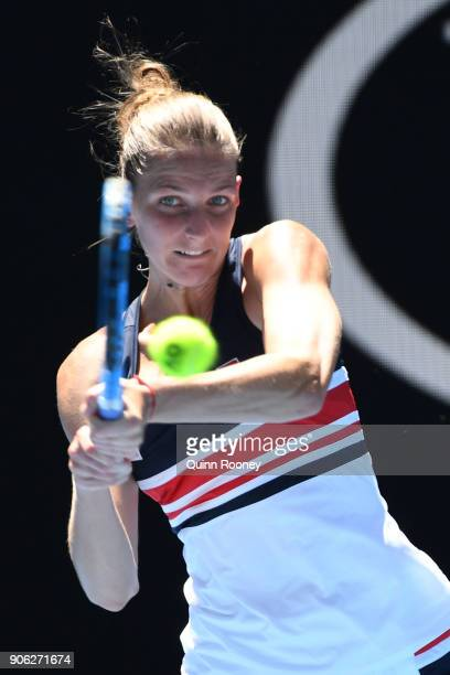 Karolina Pliskova of the Czech Republic plays a backhand in her second round match against Beatriz Haddad Maia of Brazil on day four of the 2018...