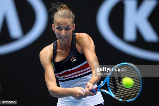 Karolina Pliskova of the Czech Republic plays a backhand in her third round match against Lucie Safarova of the Czech Republic on day six of the 2018...