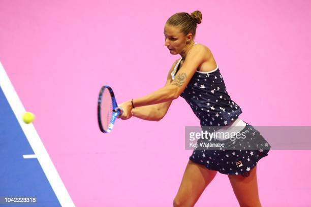 Karolina Pliskova of the Czech Republic plays a backhand in the Singles semi final against Donna Vekic of Croatia on day six of the Toray Pan Pacific...