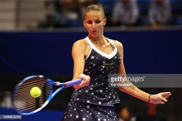 Karolina Pliskova of the Czech Republic plays a forehand during her Singles second round match against Daria Gavrilova of Australia on day three of...
