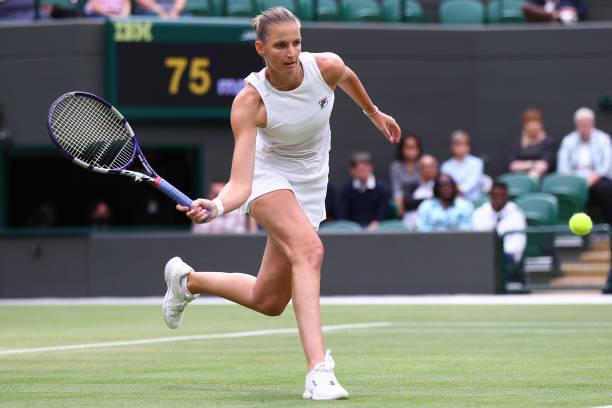 Karolina Pliskova of The Czech Republic plays a forehand during her Ladies' Singles Quarter Final match against Viktorija Golubic of Switzerland...