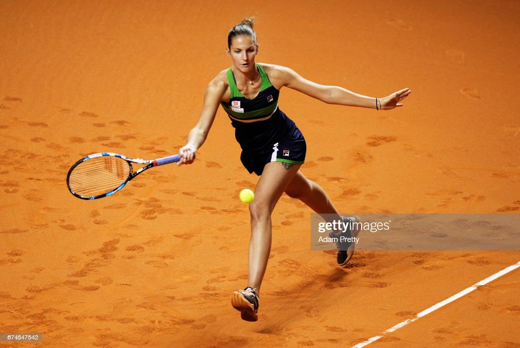 Karolina Pliskova of the Czech Republic plays a forehand during her match against Laura Siegemund of Germany during the Porsche Tennis Grand Prix at Porsche Arena on April 28, 2017 in Stuttgart, Germany.
