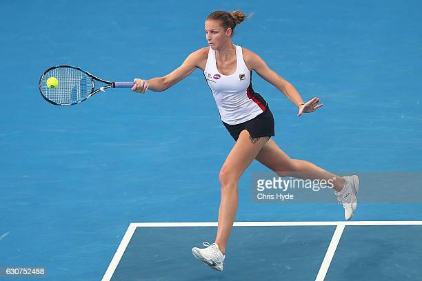 Karolina Pliskova of the Czech Republic plays a forehand in her first round match against Yulia Putintseva of Kazakhstan during day one of the 2017...