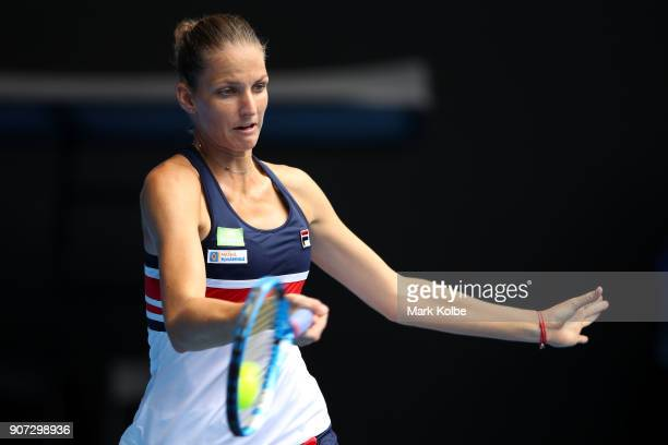 Karolina Pliskova of the Czech Republic plays a forehand in her third round match against Lucie Safarova of the Czech Republic on day six of the 2018...
