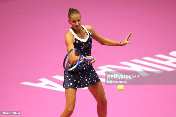 Karolina Pliskova of the Czech Republic plays a forehand in the Singles semi final against Donna Vekic of Croatia on day six of the Toray Pan Pacific...