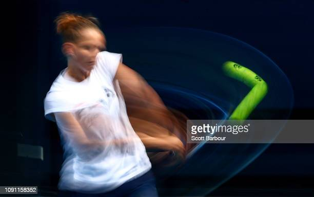 Karolina Pliskova of the Czech Republic plays a shot during a practice session ahead of the 2019 Australian Open at Melbourne Park on January 08 2019...