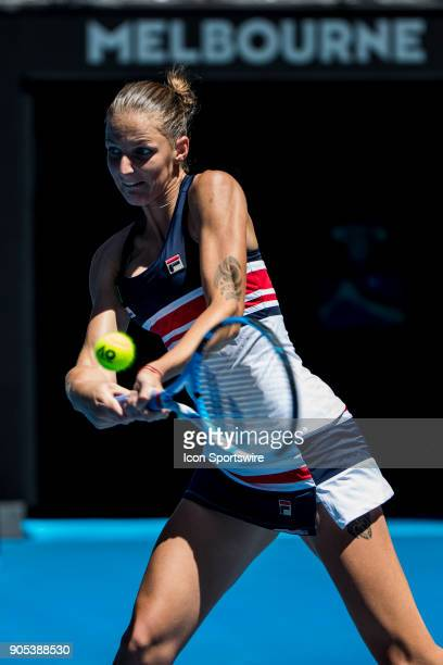 Karolina Pliskova of the Czech Republic plays a shot in her first round match during the 2018 Australian Open on January 16 at Melbourne Park Tennis...