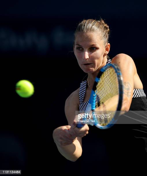 Karolina Pliskova of the Czech Republic plays a shot in her match against SuWei Hsieh of Chinese Taipei during day five of the WTA Dubai Duty Free...