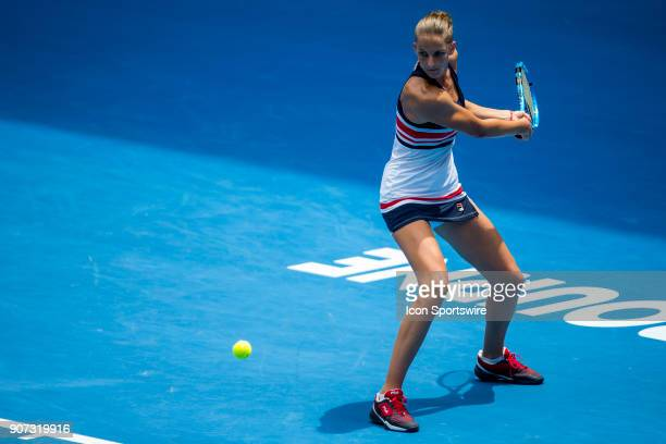 Karolina Pliskova of the Czech Republic plays a shot in her third round match during the 2018 Australian Open on January 20 at Melbourne Park Tennis...