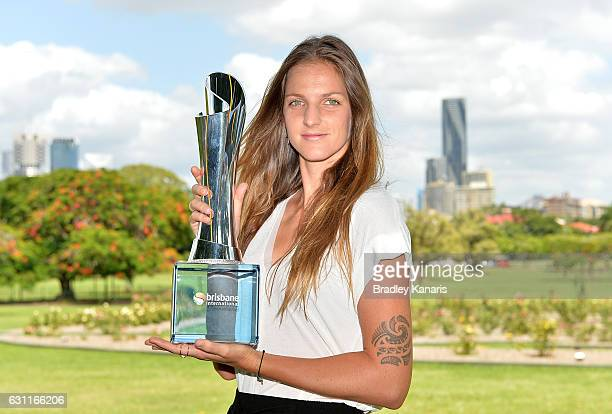 Karolina Pliskova of the Czech Republic poses for a photo with the winners trophy after winning the Women's Final during day eight of the Brisbane...