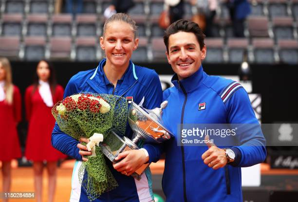 Karolina Pliskova of the Czech Republic poses for a photograph with husband Michal Hrdlicka after her straight sets victory against Johanna Konta of...