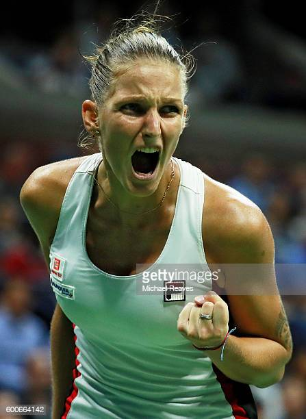 Karolina Pliskova of the Czech Republic reacts against Serena Williams of the United States during their Women's Singles Semifinal Match on Day...