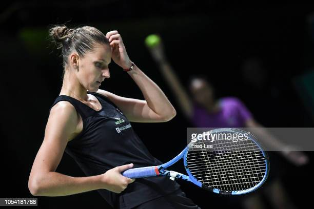 Karolina Pliskova of the Czech Republic reacts against Sloane Stephens of the United States during the women's singles semi final match on Day 7 of...